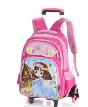 kids luggage Rolling Bags wheeled Backpacks for Girls School Bag On wheels for Children Student Trolley School backpack bag