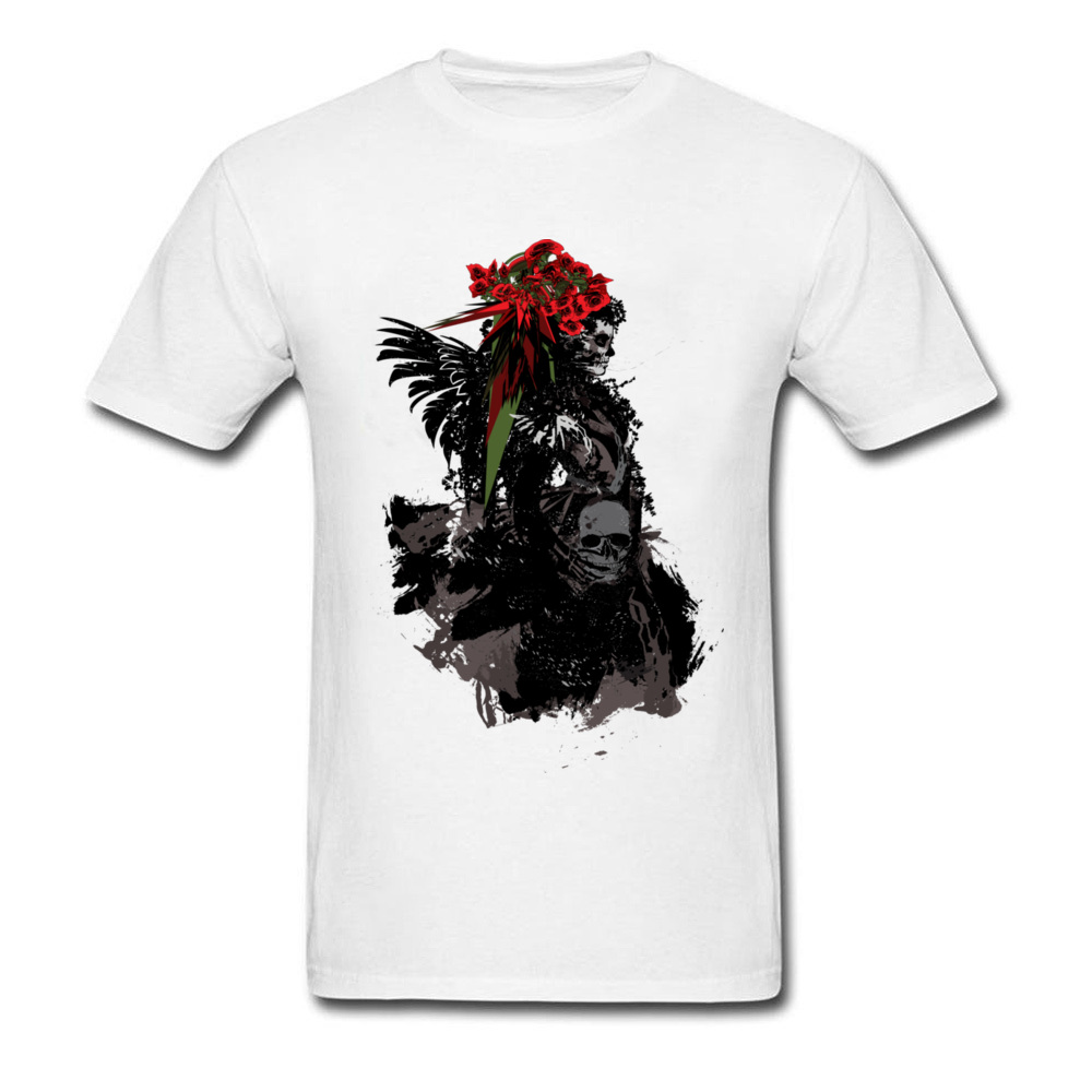 Black Geek Tshirt Men Samurai Red Rose Skull Tee Shirt For Handsome Gay Pride Horror T Shirt Movie Skull Print T-Shirt image