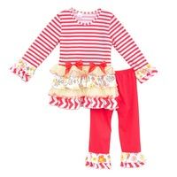 Fashion Persnickety Remake Baby Boutique Clothing Stripes Lace Top Red Ruffle Pants Girls Christmas Bow Outfits
