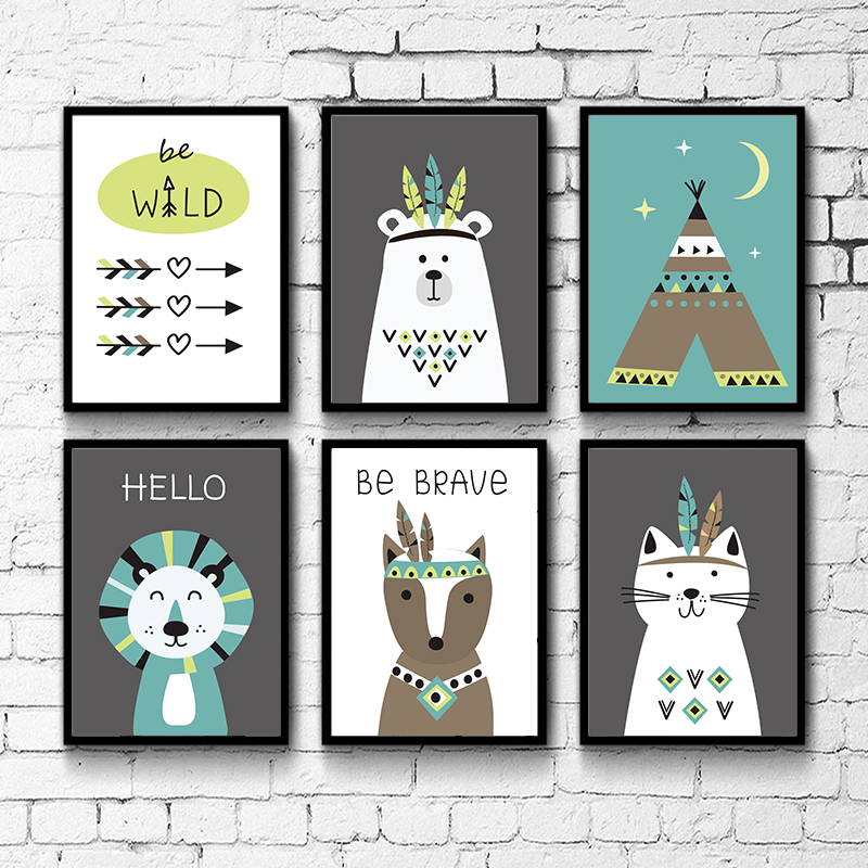 Indian Style Cartoon Animal Cute Decorative Poster Wall Art Canvas Painting Home Picture Decoration
