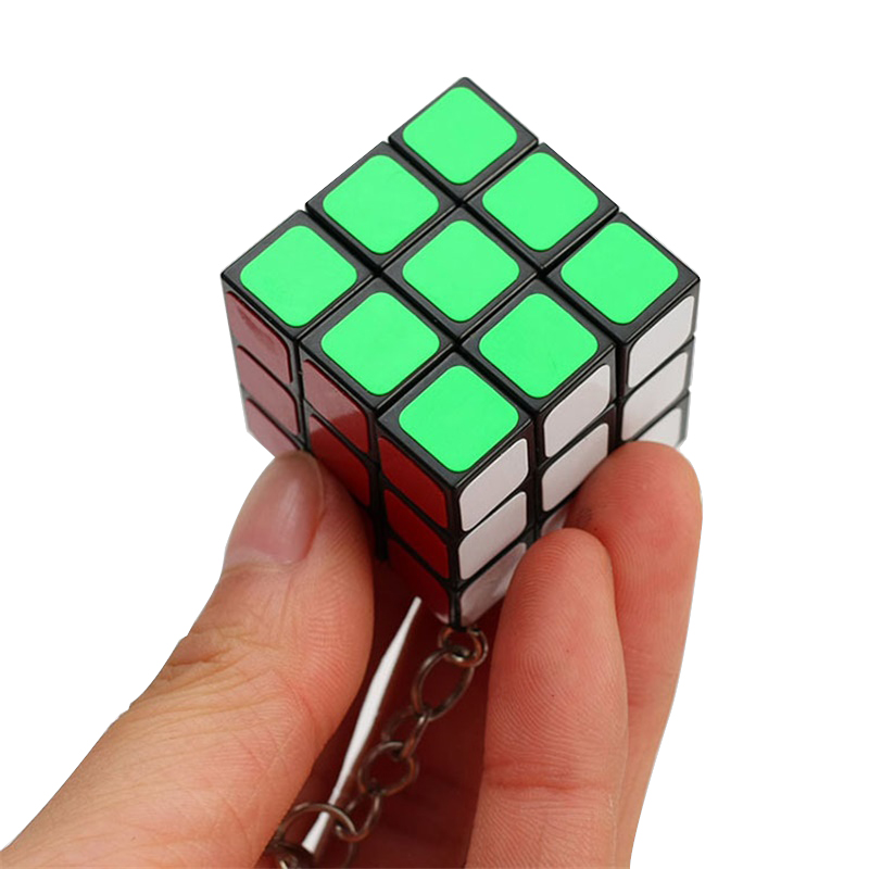 3CM Mini 3x3x3 Magic Cubes Keychain Magic Cubes Pendant Twist Puzzle Antistress Toys for Children Gift Magic Cube(China)