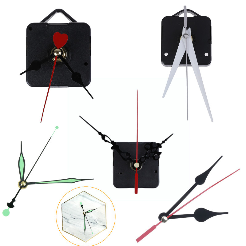 1 Set Silent Large Wall Clock Quartz Movement Mechanism Black And Red Hands Repair Kit Tool Set With Hook Drop Shipping