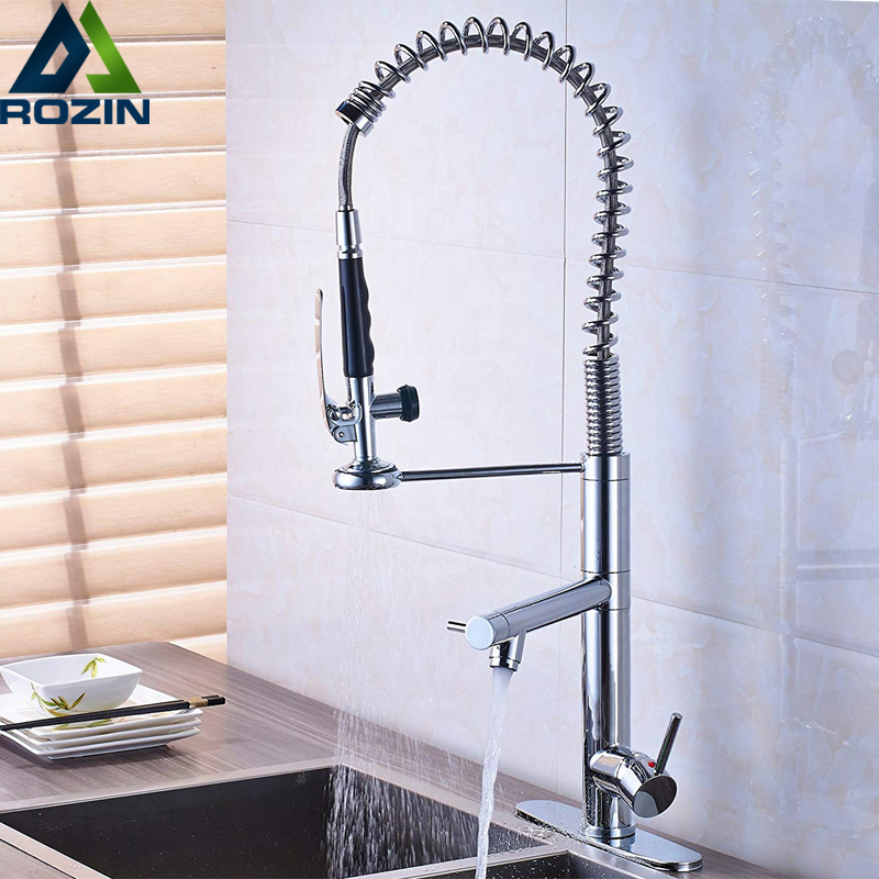Bright Chrome Spring Pull Down Kitchen Faucet Hands Free Sprayer Head with Lock Hot cold Water Kitchen Mixer Tap Swivel Spout polished chrome single handle kitchen sink mixer faucet dual spout hands free sprayer with lock