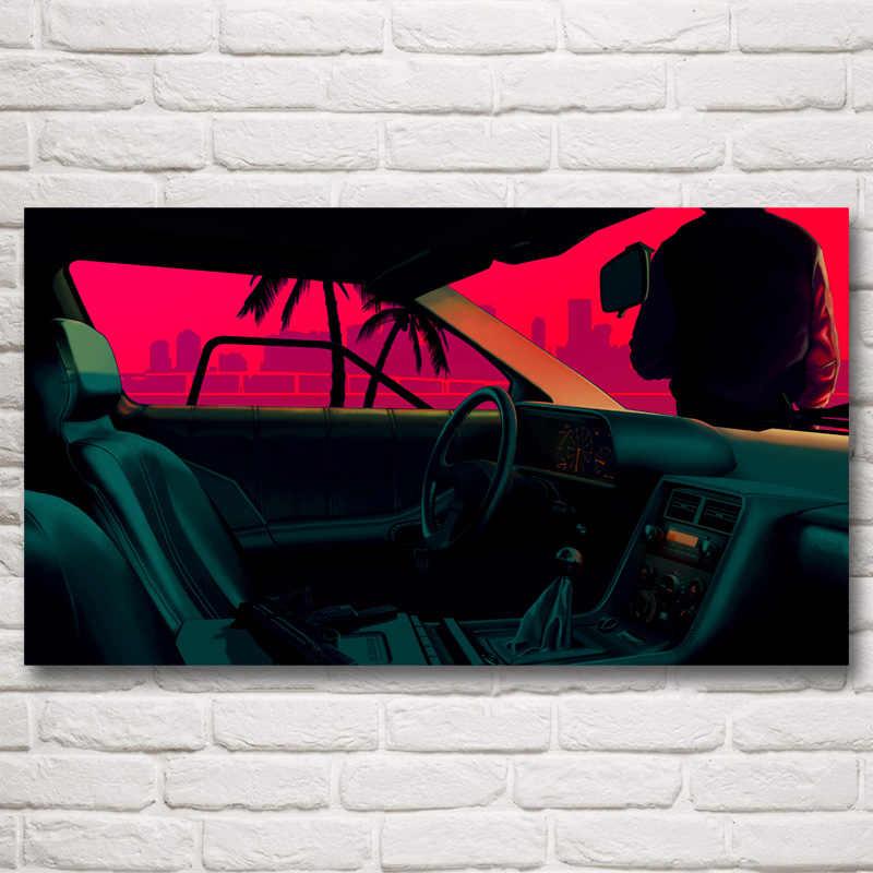Foocame Hatti Miami Video Oyunlari Sanat Ipek Kumas Poster Baski