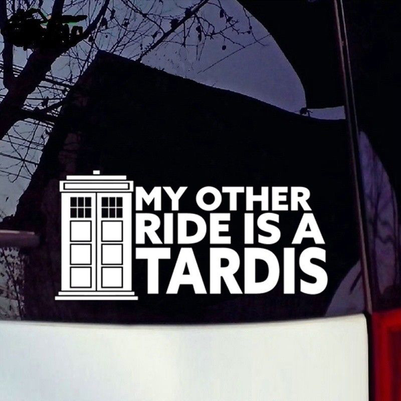 My Other Ride Is A Tardis Vinyl Decal Sticker Doctor Who Car Window Sticker Car Accessories Motorcycle Helmet Car Styling-in Car Stickers from Automobiles & Motorcycles