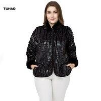 TUHAO Plus Size 7XL 6XL Women Faux Fur Coats 2018 Autumn Winter Fur Sleeve Stand Collar Faux Large Size Women Jackets COAT ZPZ