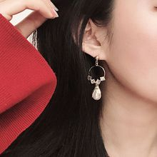 Fashion Retro Women Earrings Circle Artificial Pearl Earring Court Style Long Water Drop Shape Ear Jewelry metal artificial pearl circle drop earrings