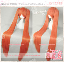 120cm Super Long Straight Felicita Feci Orange Pink Synthetic Hair Wig Anime Arcana Famiglia Cosplay Wig + 2 Clips On Ponytails