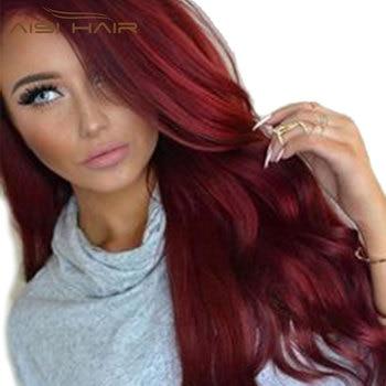 Je de une perruque Synthétique Rouge Perruques Long Ondulé Cheveux pour Femmes Noir Poils