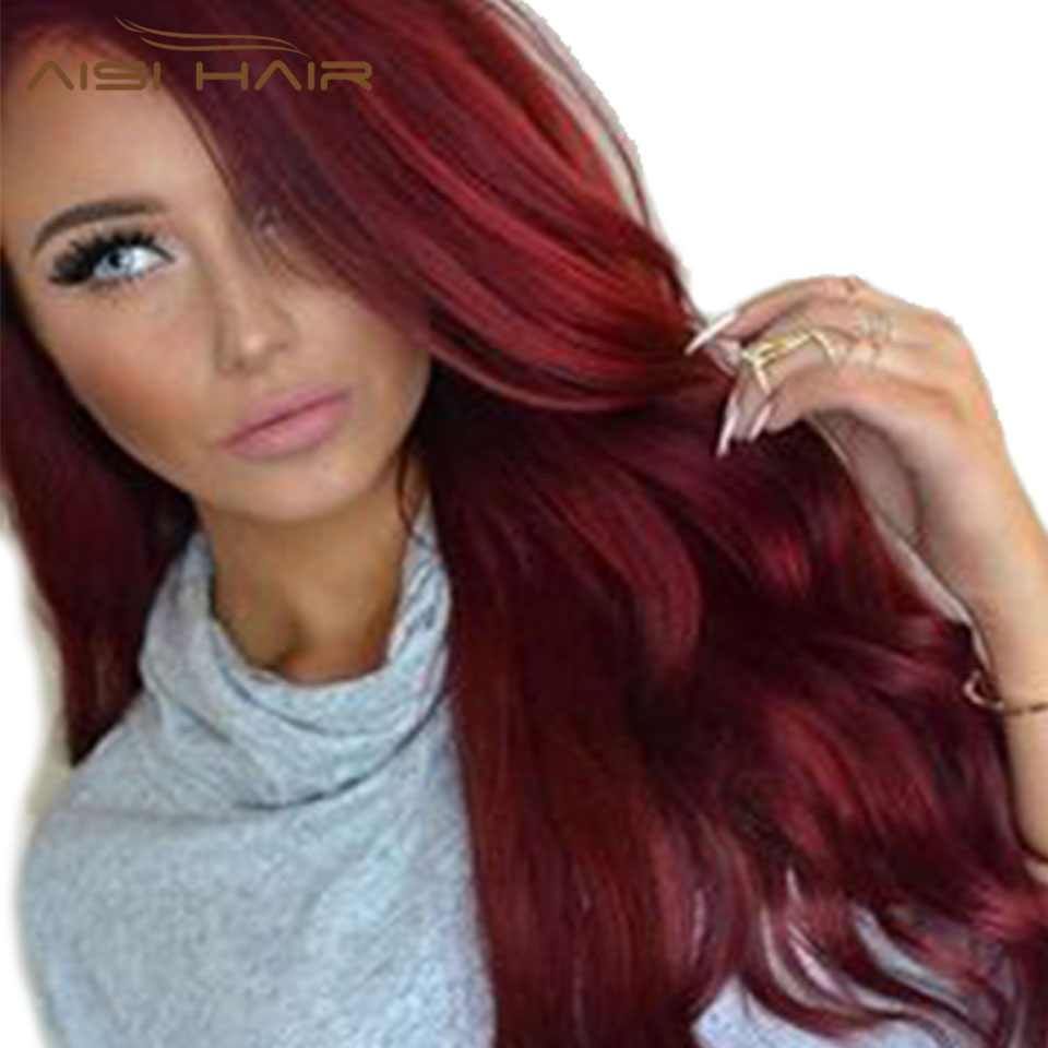 I S A Wig Synthetic Red Wigs Long Wavy Hair For Women