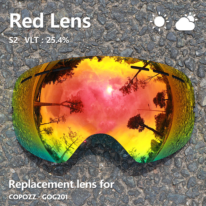 COPOZZ GOG-201 Lens Ski Goggles Lens Anti-fog UV400 Big Spherical Ski Glasses Snow Goggles Eyewear Lenses Replacement(Lens Only)