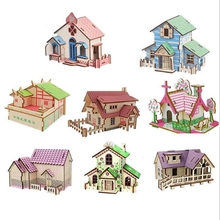 Creative DIY 3D wooden puzzle jigsaw building model animal car spell insert kit children education learning toy gifts