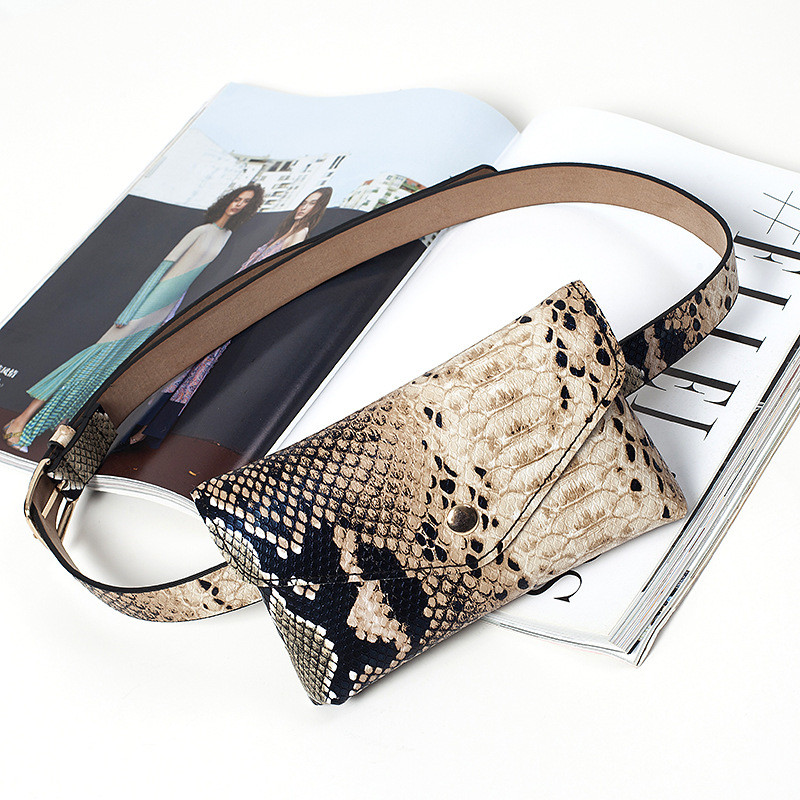 Women Fanny Pack Vintage Serpentine Waist Pack High Quality PU Leather Phone Pouch Fashion Snake Skin Waist Bag Messenger Bags in Waist Packs from Luggage Bags