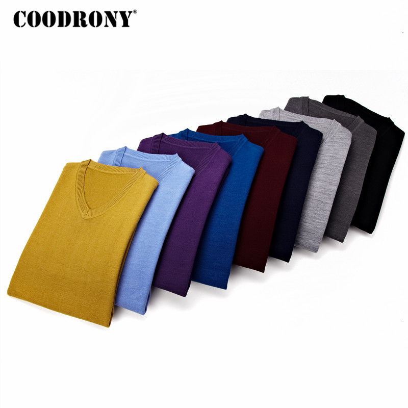 COODRONY Sweater Men Clothing 2020 Autumn Winter Pull Homme Cashemre Pullover Sweaters Men Casual V-Neck Wool Jersey Hombre 8127