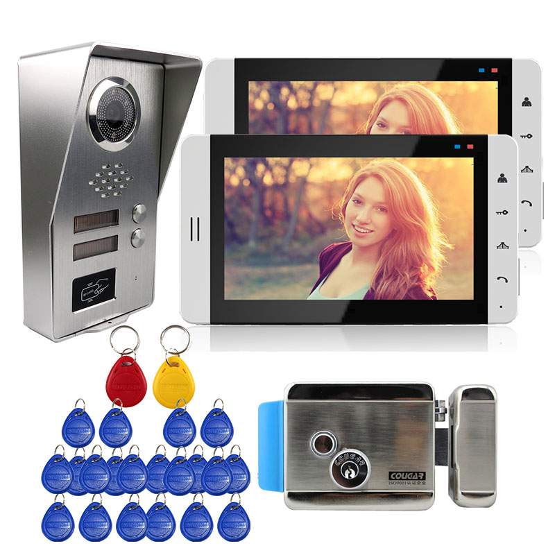 Grenseure FREE SHIPPING 7 Touch LCD Video Door Phone Intercom 2 Monitors + Outdoor RFID Camera for 2 Apratments + Electric Lock free shipping 2 touch monitors 7 inch lcd video intercom door phone doorbell system rfid door camera e lock remote in stock
