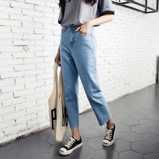 06fec8c717 US $23.59 |Jeans Donna Fidanzato Larghi A Vita Alta Jeans Strappati Denim  Haren Casuali Allentati Del Denim Femminile Pantaloni Jeans Donna Plus Size  ...