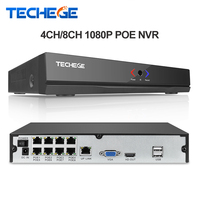 Techege Genuine FULL HD 1080P 4CH 8CH CCTV 48V POE NVR H 264 P2P ONVIF Real