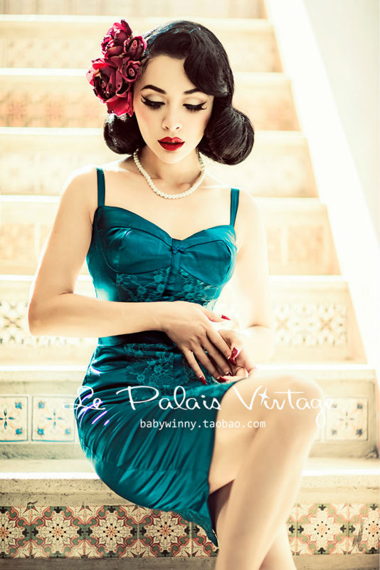 FREE SHIP PING Le Palais Vintage limited edition retro elegant lace stitching malachite green Corset Dress