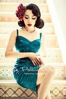 Бесплатная доставка [PING Le Palais Винтаж Ограниченная серия ретро элегантный кружево шить Зеленый Малахит корсет платье/облегающее платье