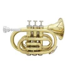 Горячая ammoon Мини карманный Bb Труба плоский латунный духовой инструмент с мундштуком перчатки, Чистящая салфетка чехол для переноски