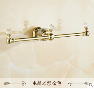 Free Shipping Luxury Golden Towel Rack European Design Towel Bar Wall Mounted crystal Towel Holder bathroom accessories the ivory white european super suction wall mounted gate unique smoke door