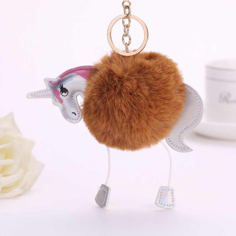 Engraçado Animal Dos Desenhos Animados Fluffy Pompons Pom Pom Bola de Pele de Coelho Artificial Keychain Chaveiro Carro Chaveiro Titular do Saco Das Mulheres