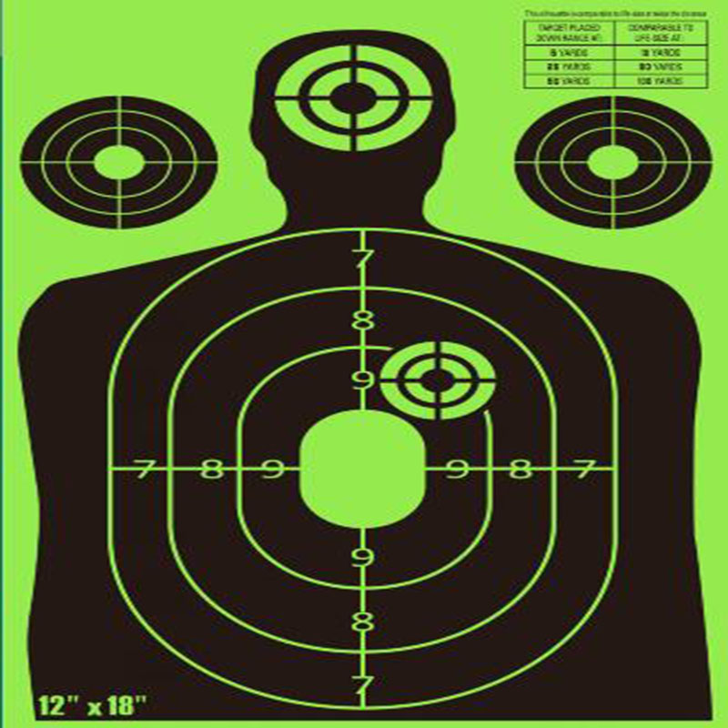 12*18 spaltter shooting target with bright color- Instantly See Your Shots Burst Florescent green Upon Impact!