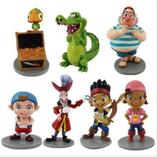 7pieces/lot 7style 5-10cm pvc Jake and the neverland pirates the pirate captain jack, Izzy doll Festival gift Gifts for children
