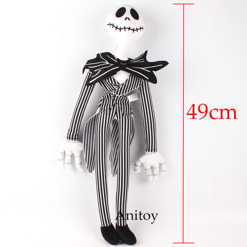 The Nightmare Before Christmas Jack Skellington Soft Plush Animal Dolls Stuffed Doll 49cm womens printed halloween leggings the nightmare before christmas cosplay leggin jack and sally slim design workout girls pants