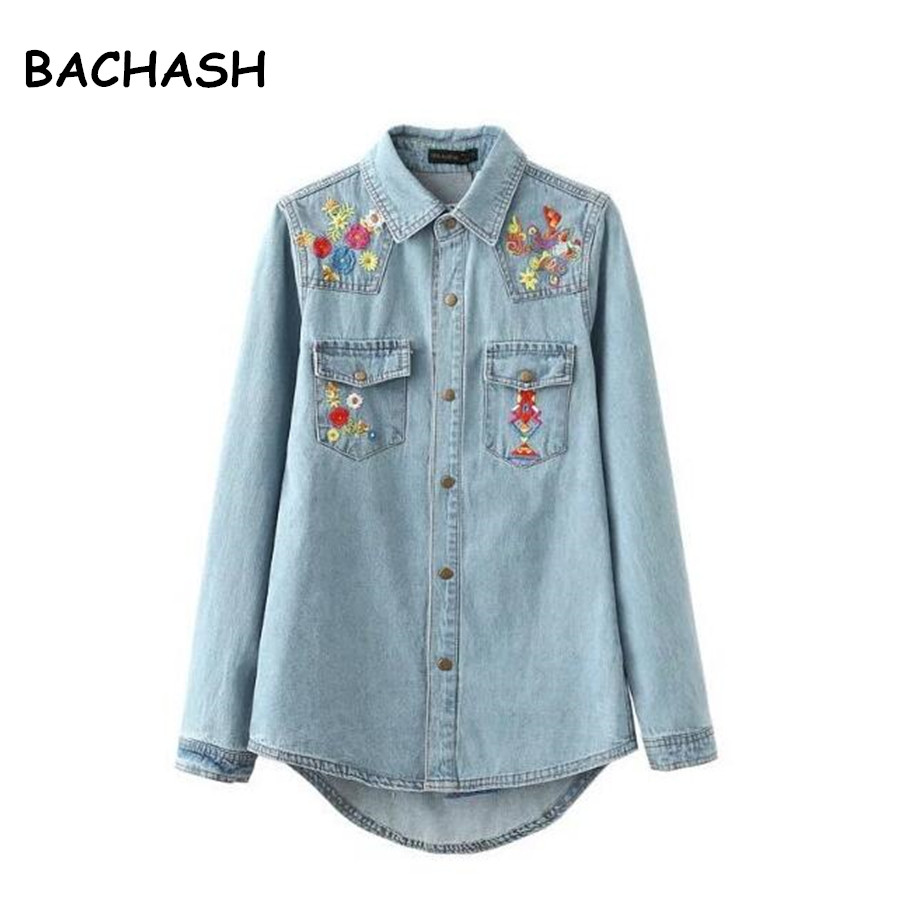 Femmes broderie vestes femmes veste mode denim chemise hauts manches longues bleu vintage bohème hippie chic broderie basique jacke