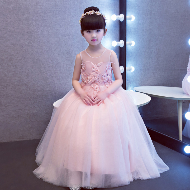 Kids Dresses For Girls 4-15 Years 2017New Design Flowers Girl Wedding Princess Dresses Child Birthday Party Ball Gown Embroidery 4pcs new for ball uff bes m18mg noc80b s04g