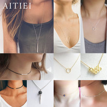 New Simple Style Ladies Necklace Stars Long Strip Pendant Silver Gold Necklace For Women Leather Rope Geometry Variety Necklace(China)