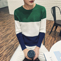 2016 New Arrival Spring Autumn Fashion Men Casual Slim Long Sleeved O-neck Pullover Knitted Patchwork Sweater Green/Orange/Brown