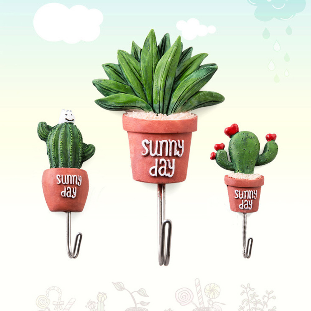Adorable Simulation Succulent Plants Modeling Hooks Strong Sticky Self-Adhesive Wall Hook Hanger Suitable For Anywhere Hook