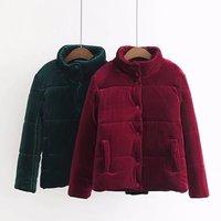 2018 New Women Red Green Soft Velvet Jackets Ladies Loose Long Sleeve Luxury Streetwear Warm Epaulet