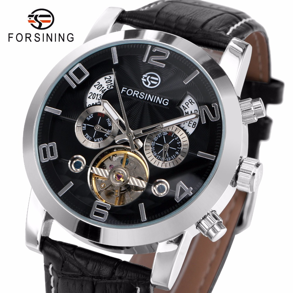 FORSINING Wrist Watch Men 2017 Top Brand Luxury Male Famous Clock Automatic Mechanical Watches Calendar Date Tourbillon + BOX forsining date month display rose golden case mens watches top brand luxury automatic watch clock men casual fashion clock watch