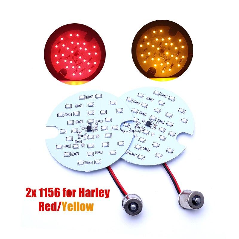 2 pcs Arrière 1156 LED Ampoule Clignotants Panneau Lumineux pour Harley-Davidso Feux de jour DRL BAY15d avec un termianal jaune/Rouge