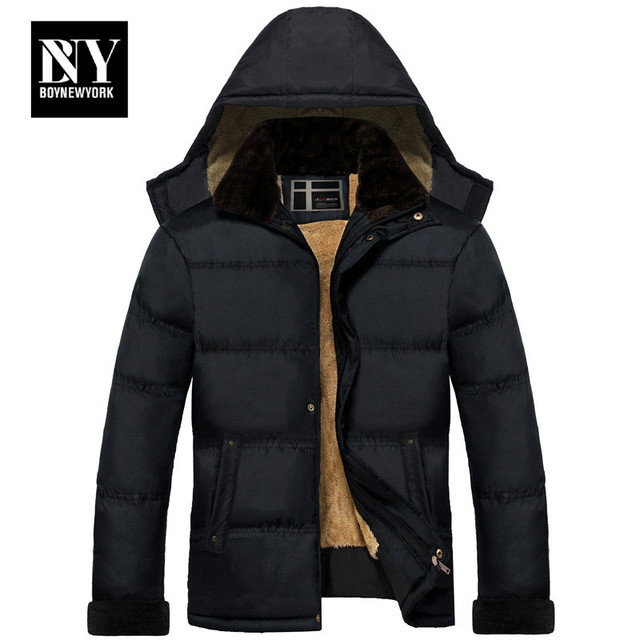 BNY High Quality Winter Jacket Men Brand 2016 Warm Thicken Coat Famous Cotton-Padded Fashion Parkas Elegant Business Plus Size 4