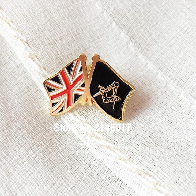 US $39 0 |20pcs Free Mason Friendship Metal Craft Custom Soft Enamel Lapel  Pins UK Flag Masonic Badge Freemason Pin United Kingdom Brooch-in Pins &