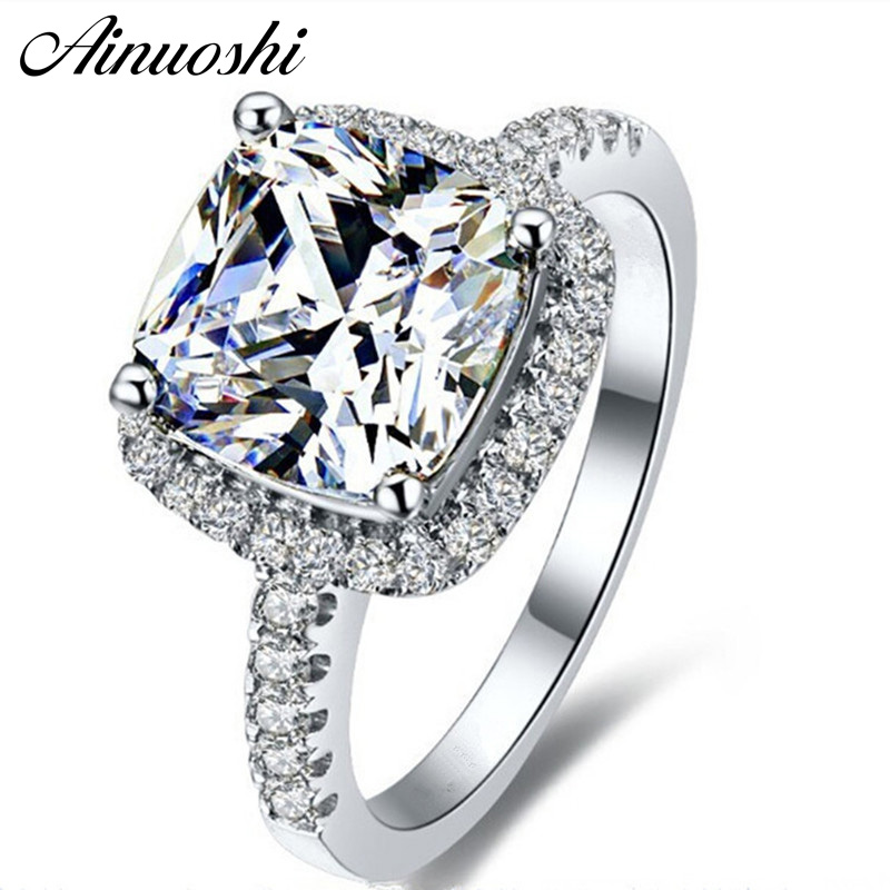 AINUOSHI Luxury 3 Carat Engagement Halo Rings Princess Stlye Cushion Cut Anelli Donna 925 Sterling Silver Γυναικεία κοσμήματα