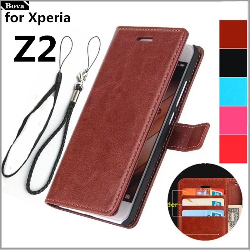 case for Sony Xperia Z2 pu Leather fip Case card holder cover case for Sony Z2 holster coque fundas pouch