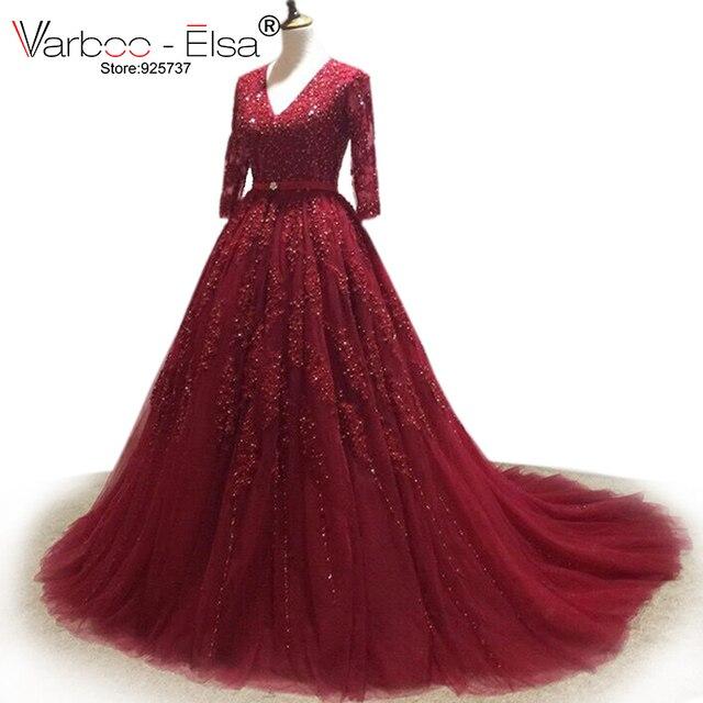 VARBOO_ELSA Đầm Vestido De Noiva 2020 Chiếu Trúc Hạt Cổ V Áo Váy Ren Đỏ Nhà Nguyện Đoàn Tàu Bầu Nửa Tay Trung Quốc Cô Dâu bộ Đồ Bầu