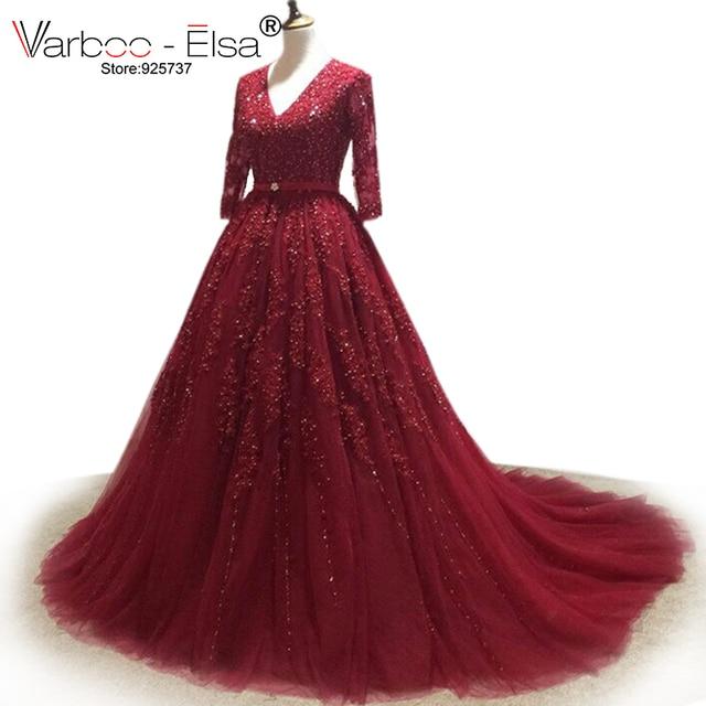 Varboo_robe de mariée elsa, robe de mariée en dentelle au col en V, robe de bal, rouge, chapelle, manches mi longues, chinoise, 2020
