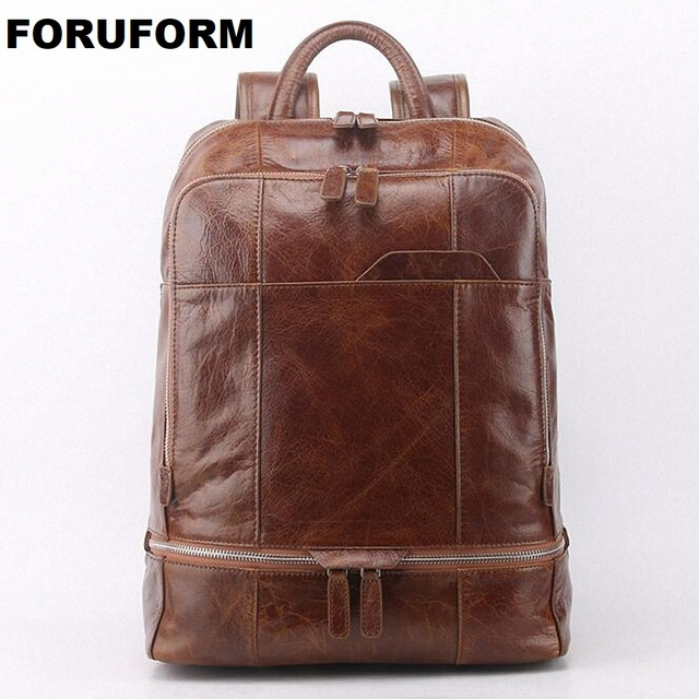 Original Cowhide Genuine Leather Vintage Men's Laptop BackpackFor Male Large Capacity Travel Bag For Teenagers LI-1740