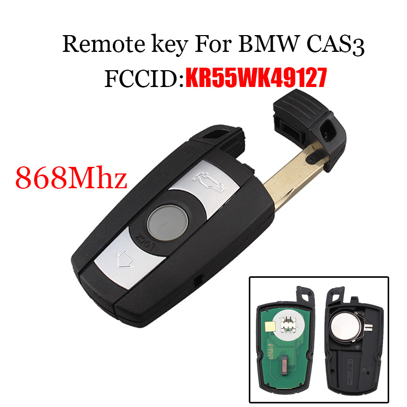 3 Buttons 868 MHz PCF7945chip Remote Key For BMW 1 3 5 6 7 Series Smart For BMW CAS3 X5 X6 Z4 KR55WK49127 4 buttons silicone case for bmw x1 x5 x6 bmw 3 5 7 series smart remote car key cover with emblems