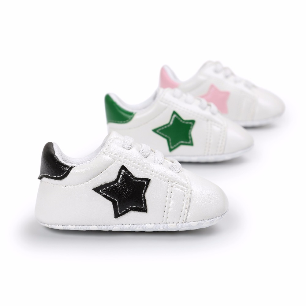 New Fashion Star design First walkers Crib Girls boys Baby Moccasins soft sole Pu leather Infant Prewalkers Newborn Baby Shoes