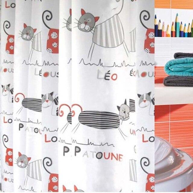 Terylene Cloth Cartoon Fabric Shower Curtains Bathroom Curtain Cat Animals Bath For Kids Children 180cm180cm