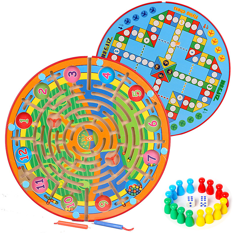 Wooden Labyrinth Plane Puzzles Magnetic Maze Intelligence Early Children Learning Toys Educational Game Kids Gifts kids wooden toys nut combination puzzles early learning game jigsaws nut kits for children