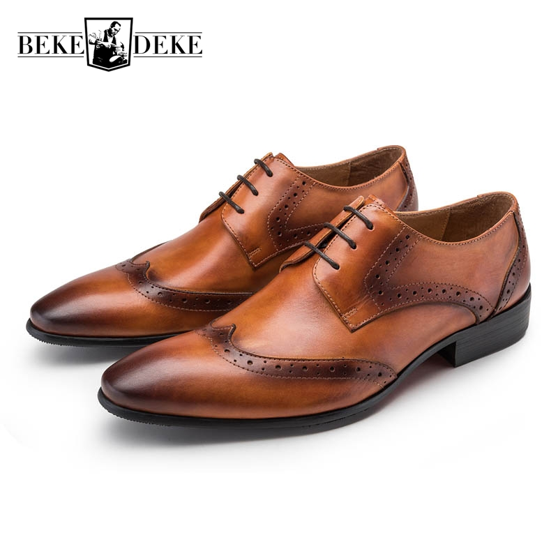 Wing Tip Brogue Shoes Men Fashion Lace Up Pointed Toe Genuine Leather Male Footwear Business Shoes Work Shoes Formal Shoes Solid 2018 new arrival genuine leather pointed toe lace up mens formal shoes male footwear british retro wing tip high quality scarpe