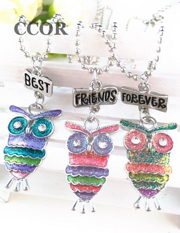 3PCS-Set-Friendship-Alloy-Drop-Oil-Bling-Owl-Kids-Stereo-Imitation-BFF-Necklace-For-Children-Best
